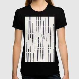 Abstract broken lines - black on off white T-shirt