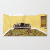 sofa Canvas Prints featuring Sofa by Zara Woodhead