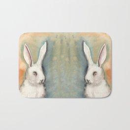 Portrait of a White Rabbit Bath Mat