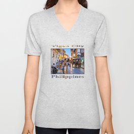Rush Hour in Vigan City (poster edition) Unisex V-Neck
