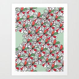 Xmas Floral Doodle Art Print