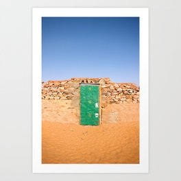 Door of a house in desert city Chinguetti, Mauritania Art Print