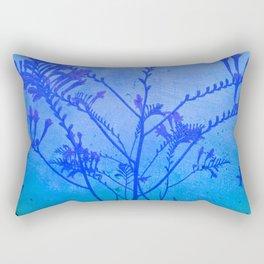 Montbretia silhouette on blue distressed background Rectangular Pillow