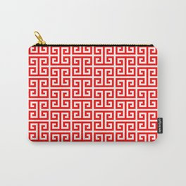 Red and White Greek Key Pattern Carry-All Pouch