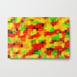 BRICK WALL SMUDGED (Reds, Oranges, Yellows & Greens) Metal Print