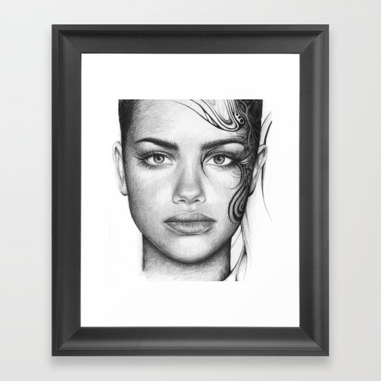 Adriana Lima Portrait Tattoos Beautiful Girl Framed Art Print