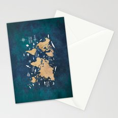 World Map Oceans Life blue Stationery Cards