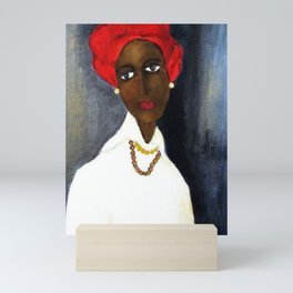 Rare African American Portrait of Aicha Goblet in a Red Hat by Amedeo Modigliani Mini Art Print