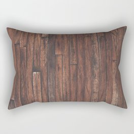 Cherry Stained Wood Barn Board Textue Rectangular Pillow