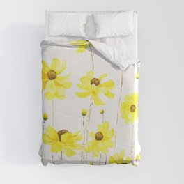yellow cosmos flowers watercolor Duvet Cover