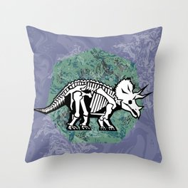Triceratops Fossil Throw Pillow