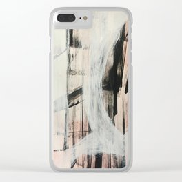 Sweet Tart [2]: a minimal abstract mixed-media piece in pink black and white by Alyssa Hamilton Art Clear iPhone Case