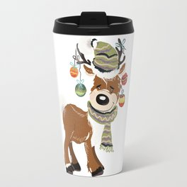 Christmas deer, with baubles in horns. Pretty childish design Travel Mug