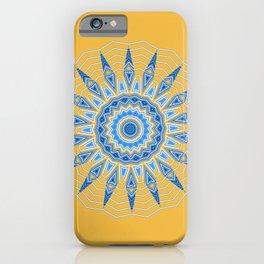 Gold Blue Aztec Mandala Design iPhone Case
