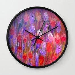 Fiery Sunset Field of Flowers Wall Clock