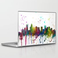 north carolina Laptop & iPad Skins featuring Charlotte, North Carolina Skyline by Marlene Watson