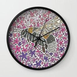 Vanishing Bee by Black Dwarf Designs Wall Clock