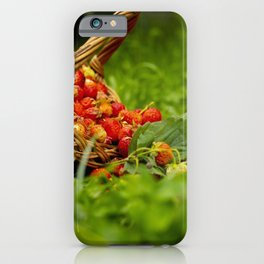 Red strawberries in a basket. iPhone Case