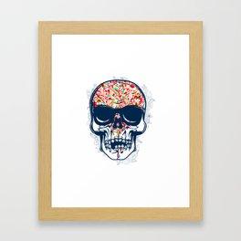 Dead Skull Zombie with Brain Framed Art Print