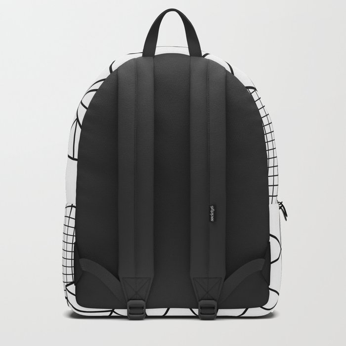 Abstract Outline Grid Black on White Backpack