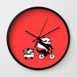 Cacti delivery. Panda on bicycle. Wall Clock