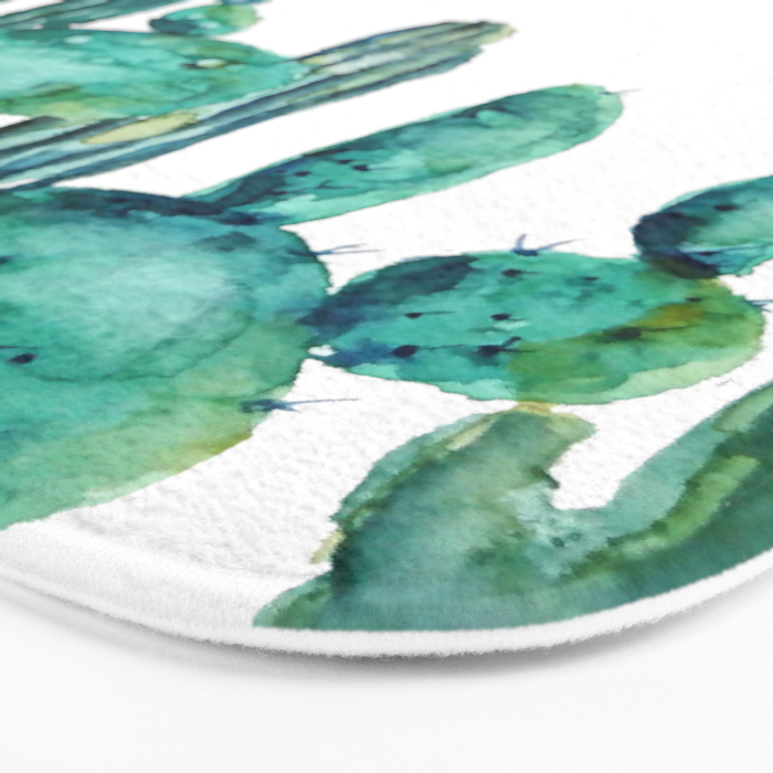 cactus jungle watercolor painting Bath Mat