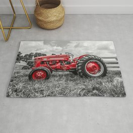 Antique International Harvester 300 Vintage Red Tractor Farm Implement Farming Equipment Midcentury Nostalgia Selective Color Isolation Rug