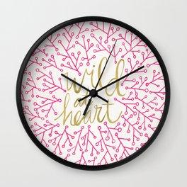 Wild at Heart – Pink & Gold Wall Clock