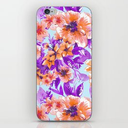 Floral Print Tropical Orange iPhone Skin