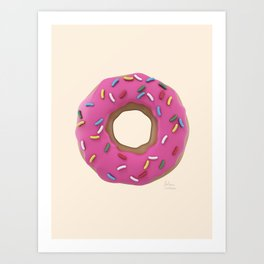 Who Wants a Donut - Pink & Tan Art Print