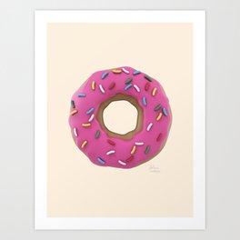 Who Wants a Donut - Pink & Tan Art Print