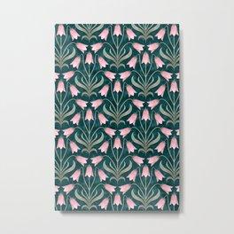 Art Nouveau Bellflower Emerald Green and Pink Metal Print