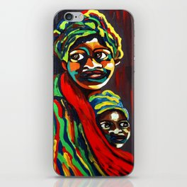 African Traditional Tribal Women Abstract Art Canvas Painting Series - 8 iPhone Skin