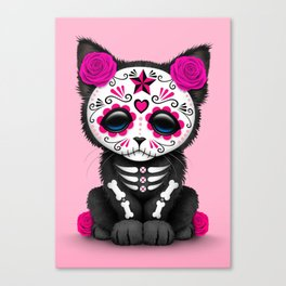 Cute Pink Day of the Dead Kitten Cat Canvas Print