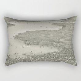 Vintage Pictorial Map of Lake Geneva WI (1882) Rectangular Pillow