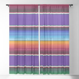 Traditional Mexican Serape in Purple Sheer Curtain