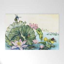 Japanese Water Lilies and Lotus Flowers Welcome Mat