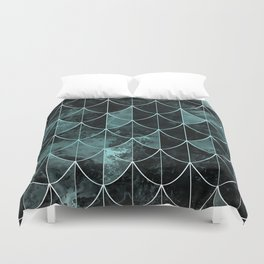 Mermaid scales. Mint and black. Duvet Cover