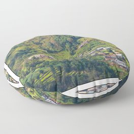 TERRACED HIMALAYAN FOOTHILLS VILLAGE IN NEPAL Floor Pillow