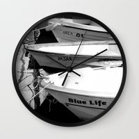 boats Wall Clocks featuring boats by habish