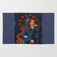 amy pond Area & Throw Rugs featuring Pond Nouveau by Karen Hallion Illustrations
