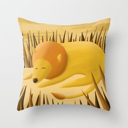 Sleeping Lion in Savannah Throw Pillow