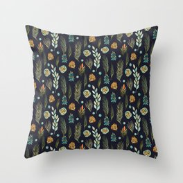 Plants Pattern Branches Leaves Green Navy Floral Watercolor Throw Pillow