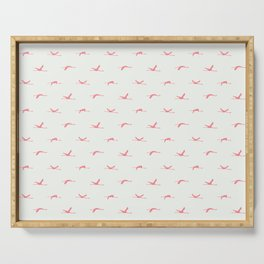 Flamingos flying | Rose - Off White | Pattern | Silhouette | Chantilly Lace Benjamin Moore 2121-70 Serving Tray