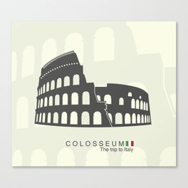 illustration of Roman Colosseum isolated on white background Canvas Print