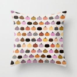 Halloween colorful indian summer pumpkin picking garden pink orange girls Throw Pillow