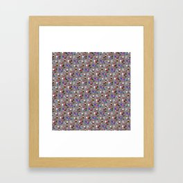 Small Print Dog Weim Nation Grey Ghost Weimaraner Hand-painted Pet Pattern on Pink Framed Art Print