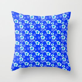 Blue Floral And Turtles Hawaiian Pattern Throw Pillow