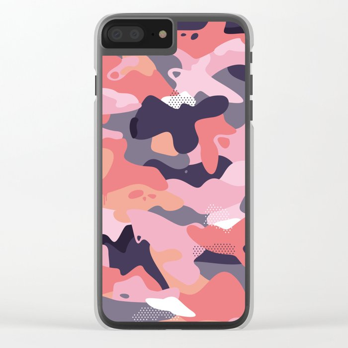 Pink camouflage Clear iPhone Case