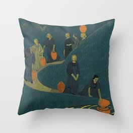The Danaides or Women at the Source of Life and Water by Paul Serusier Throw Pillow